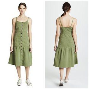 Madewell • bayview green tiered midi dress